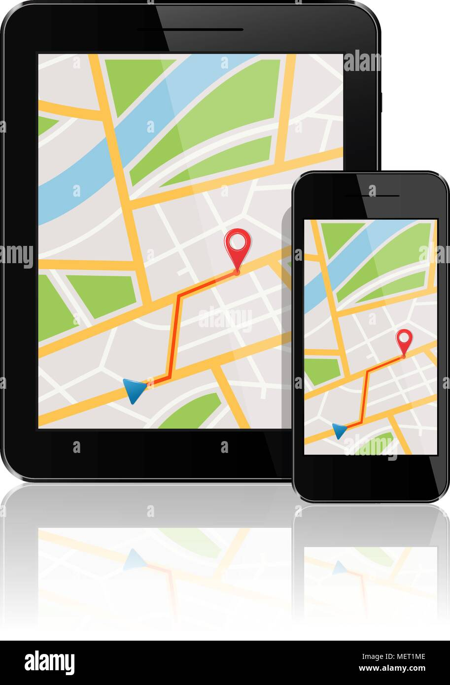 GPS map on display of smartphone and tablet Stock Vector