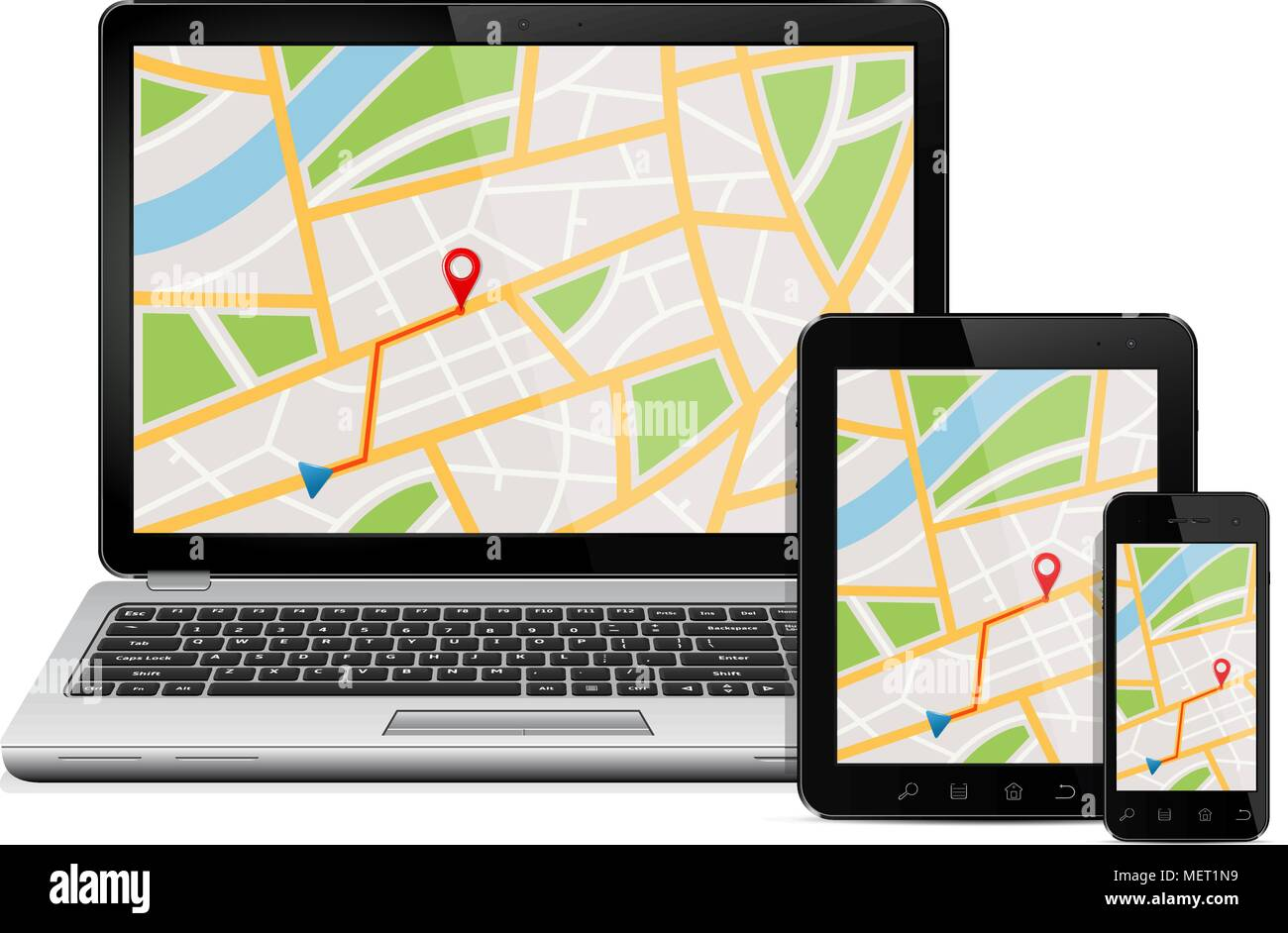 Navigation Concept. Digital devices with gps navigation map Stock Vector