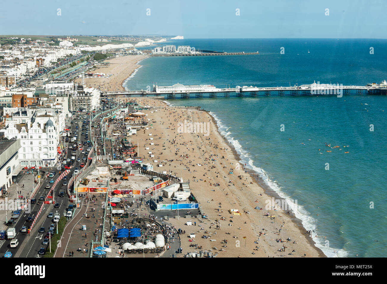 Brighton, United Kingdom - AUGUST 1, 2017: the roadway is made narrower due to construction work, seafront Sussex, coastline West Pier, sunny day - Stock Image
