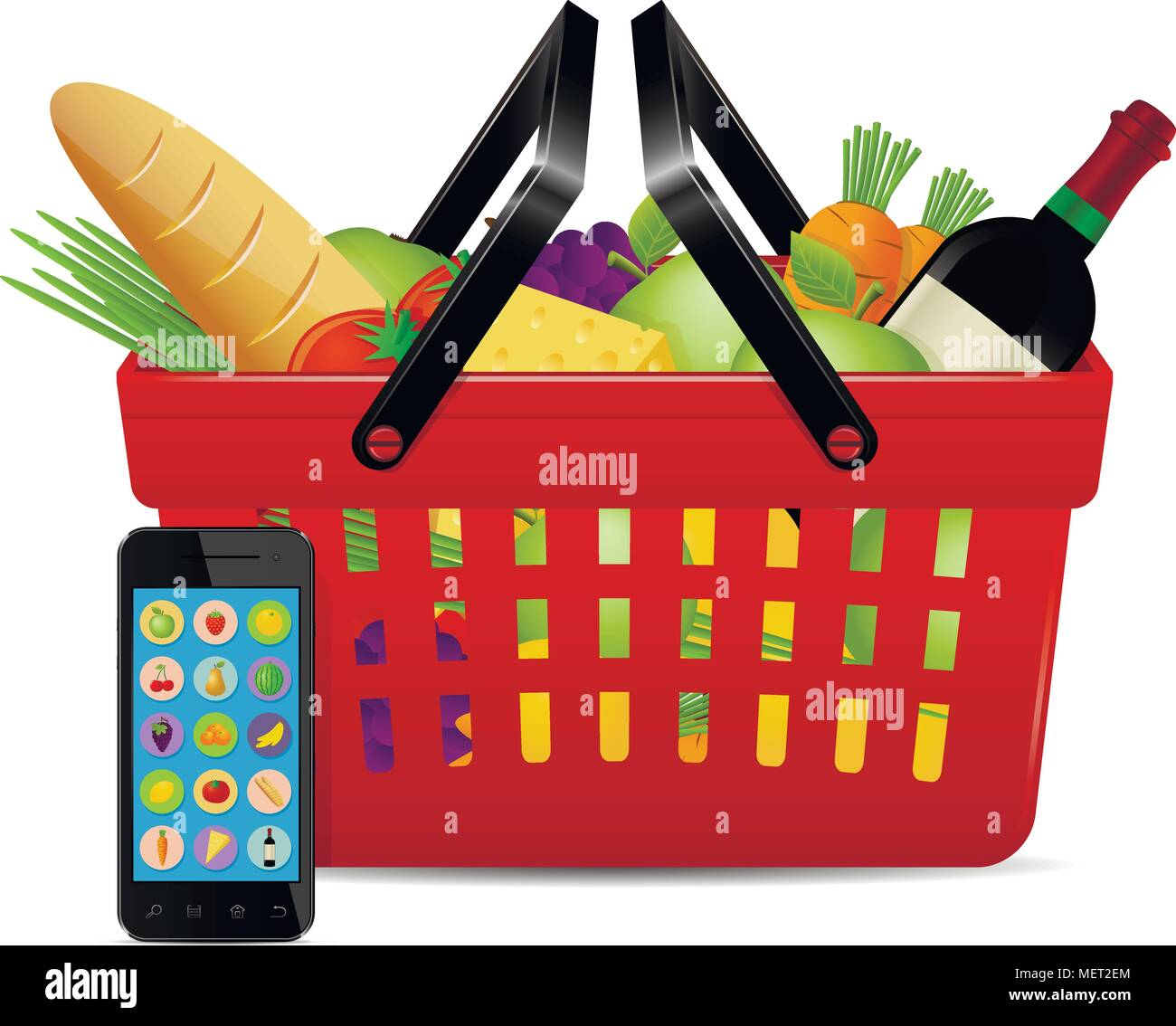 Food ordered online with use of smartphone. Online shopping concept. - Stock Vector