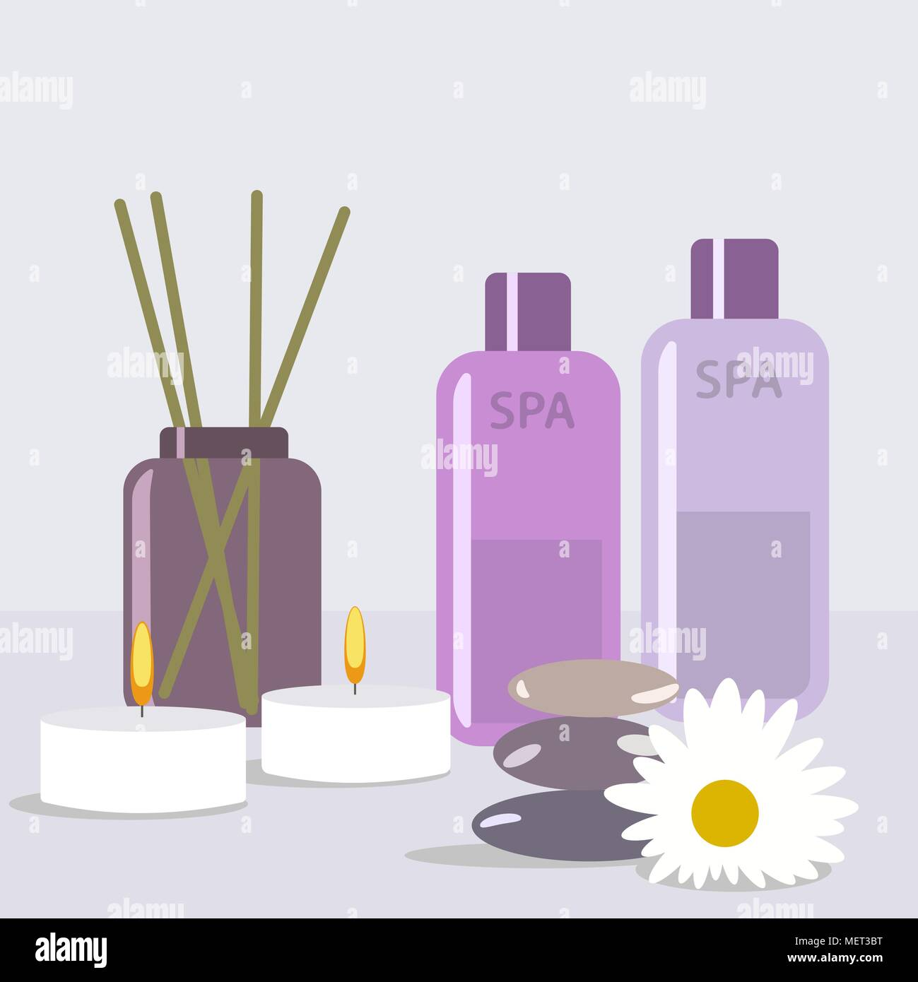 Aroma therapy set. A collection of home fragrances aroma candle, sticks and oil flat editable vector illustration, clip art - Stock Vector