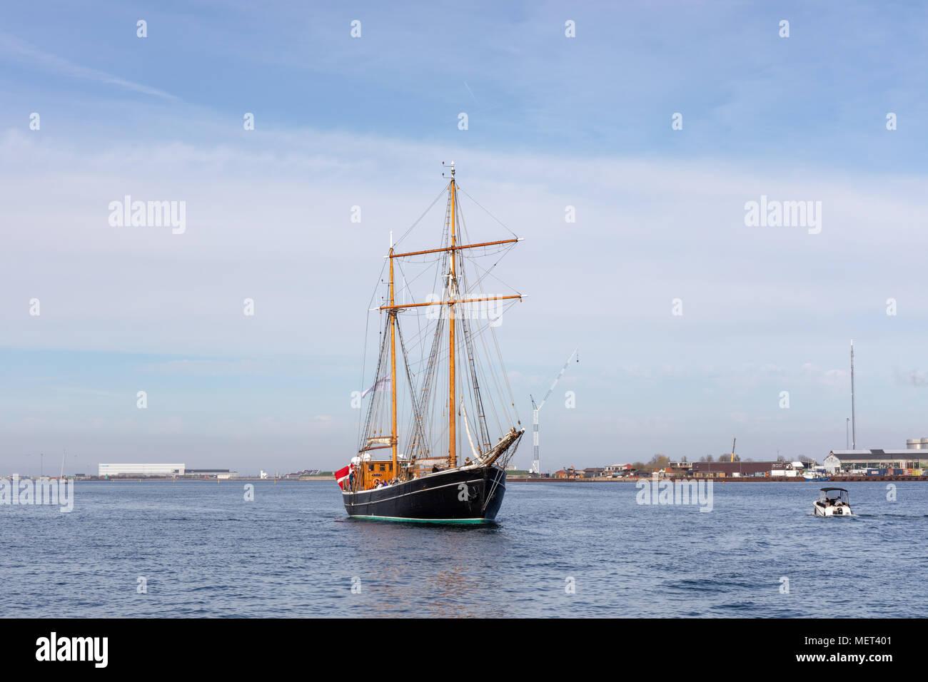 Old wooden ship in Copenhagen Harbour; Denmark - Stock Image