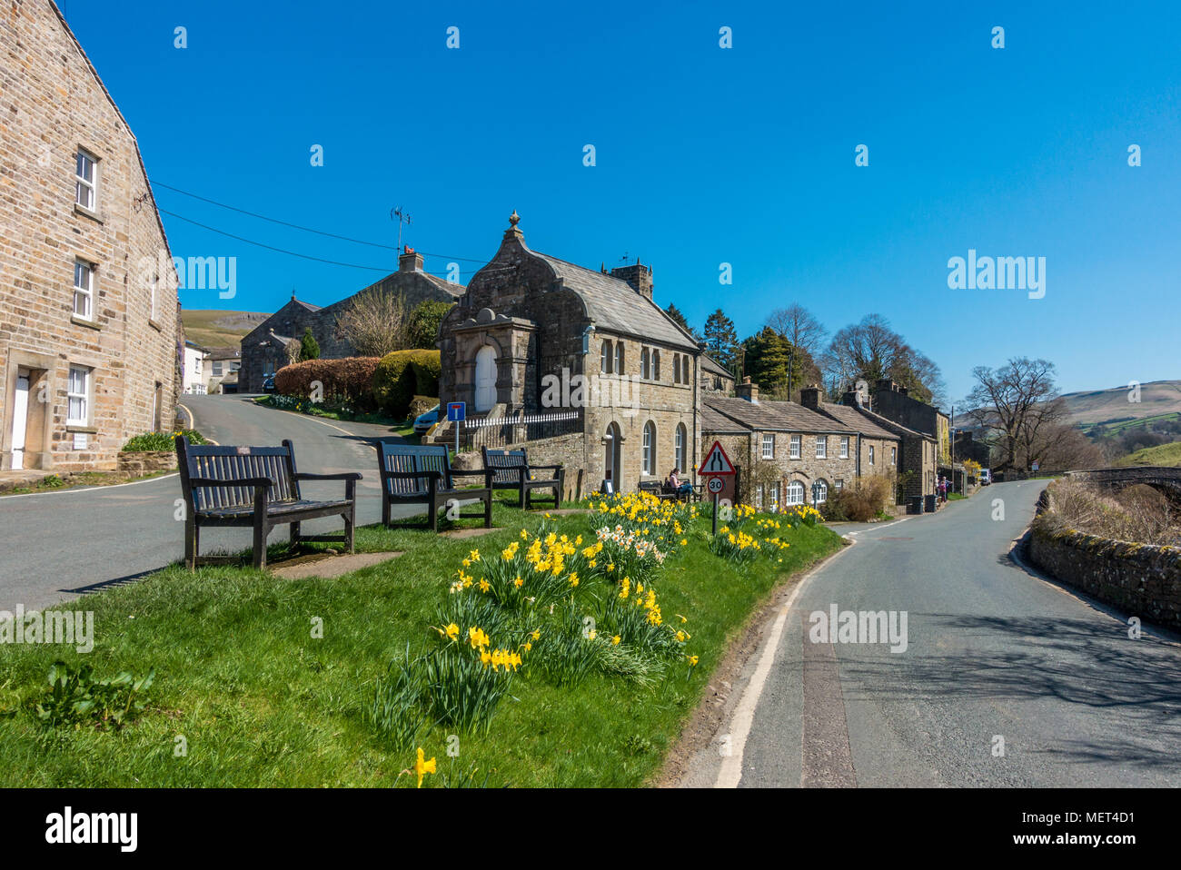 The beautiful stone houses of the village of Muker in Swaledale, Yorkshire Dales, UK - Stock Image