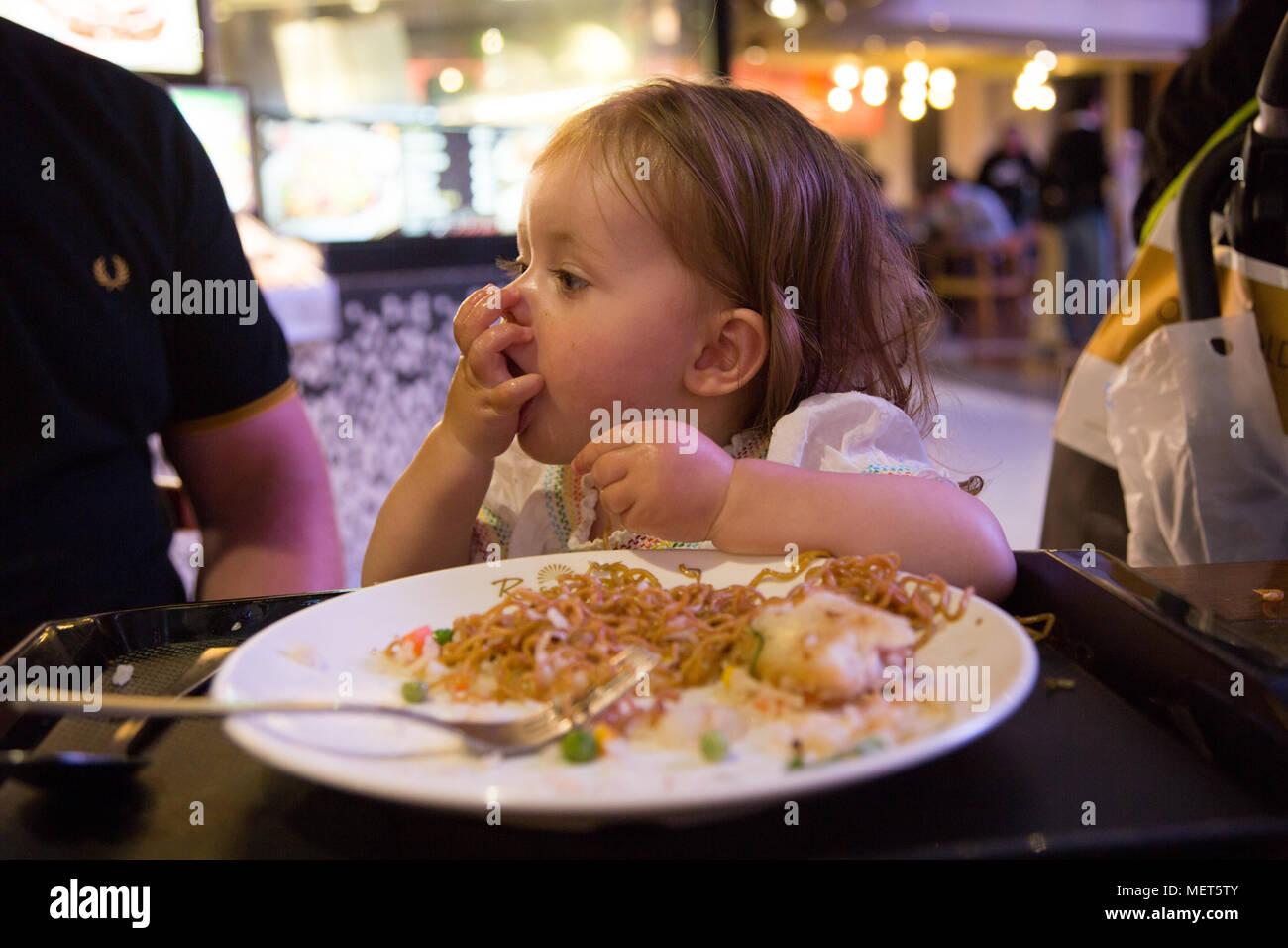 15 month old eating noodles