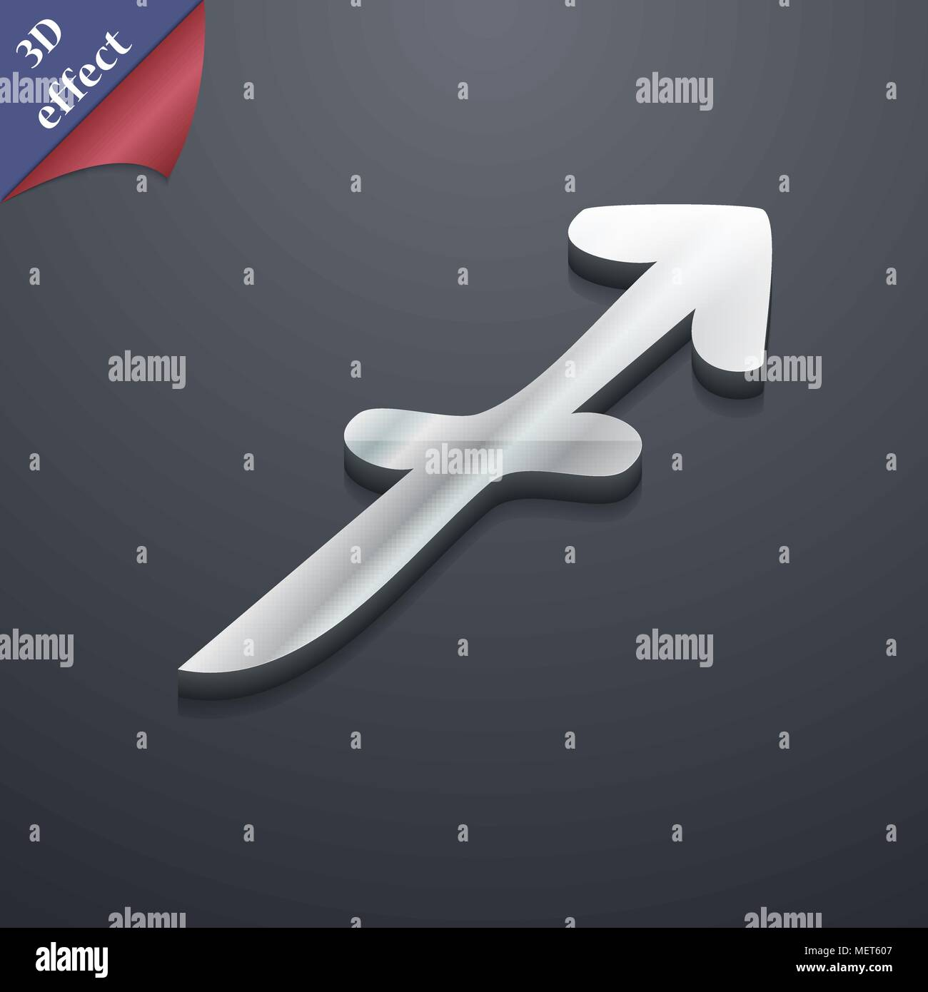 Sagittarius Icon Symbol 3d Style Trendy Modern Design With Space