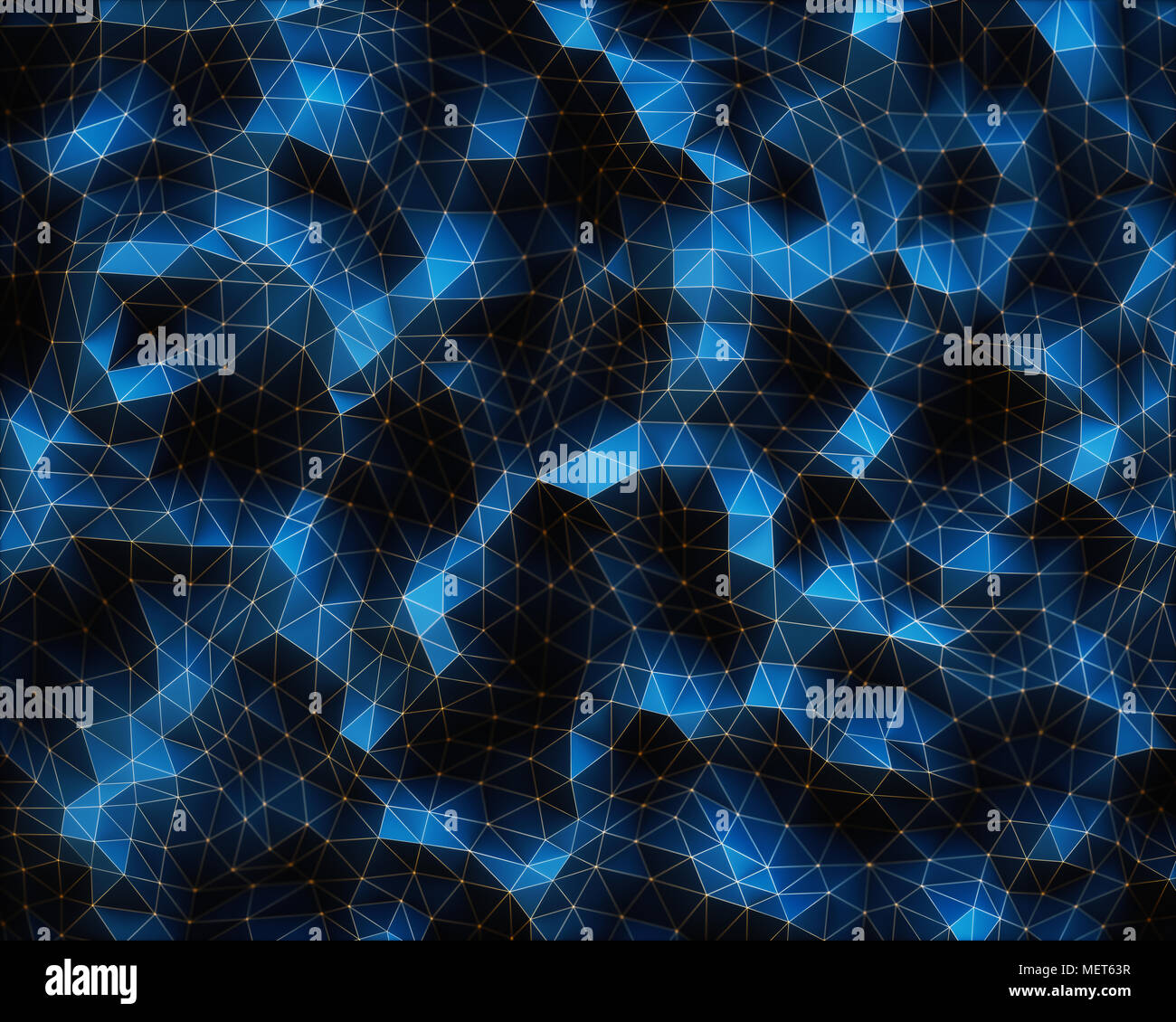 3D illustration. Abstract image, connections in lines and geometric shapes. Concept of technology for use as background. - Stock Image
