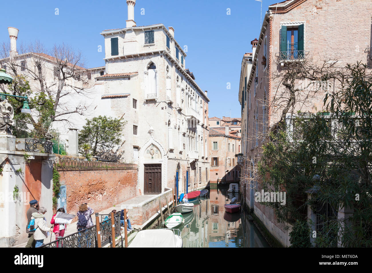 Palazzo Soranzo Van Axel, Fondamenta Van Axel, Rio della Panada, Cannaregio, Venice, Veneto, Italy, the best preserved Gothic palace in Venice. Touris Stock Photo