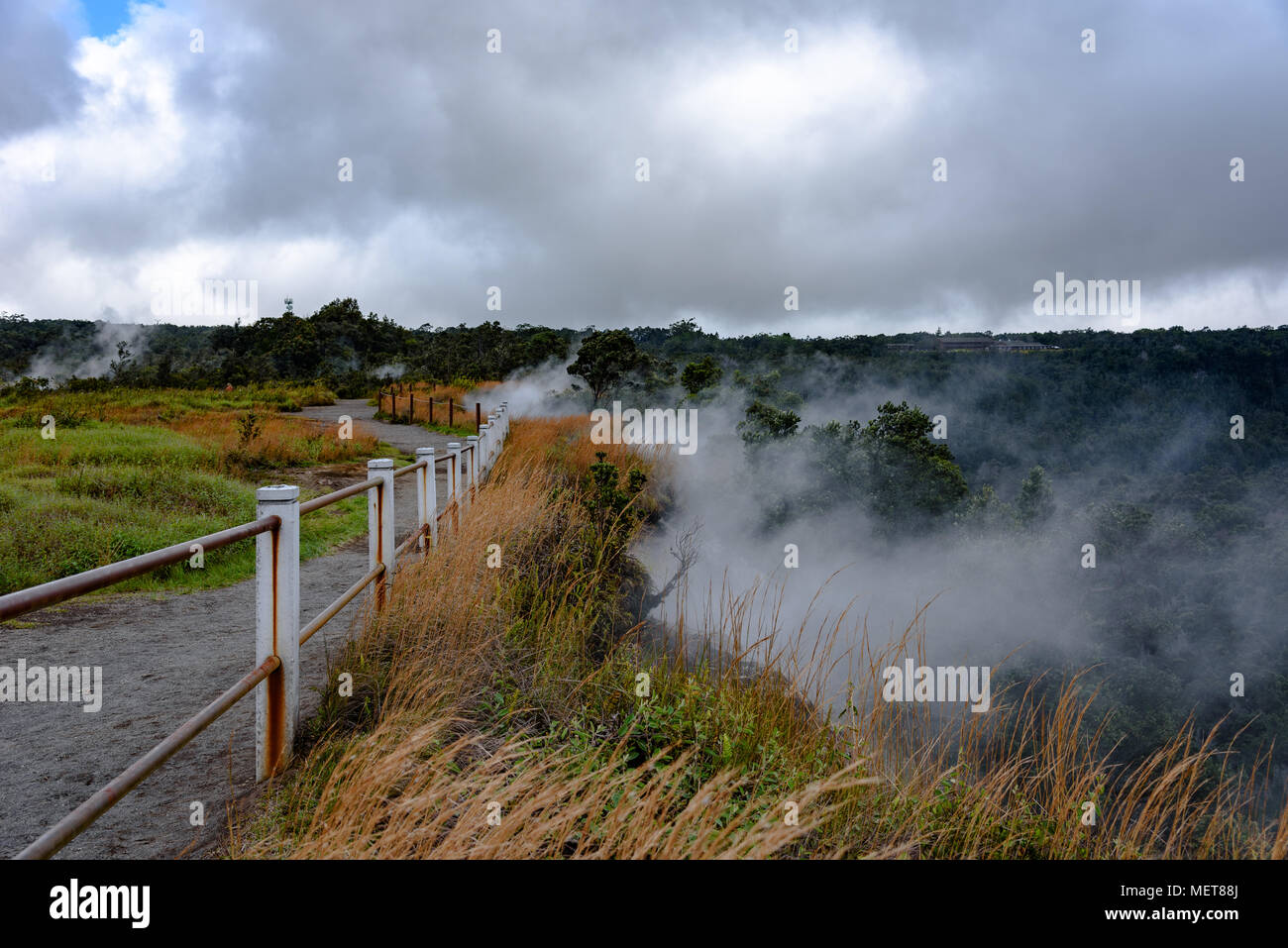 Steam vents on the Kilauea Crater in Hawaii - Stock Image