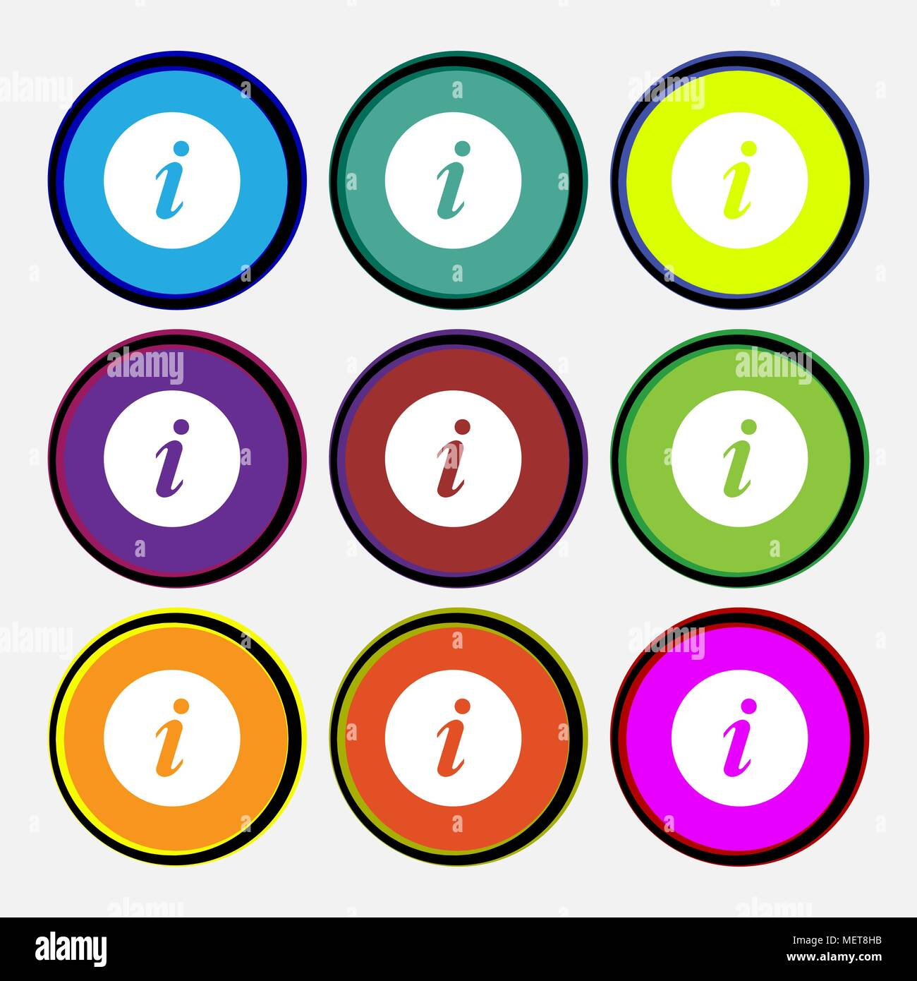 info icon sign. Nine multi colored round buttons. Vector illustration - Stock Vector