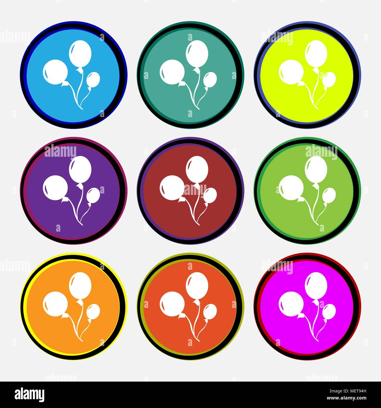 Balloons icon sign. Nine multi colored round buttons. Vector illustration - Stock Vector