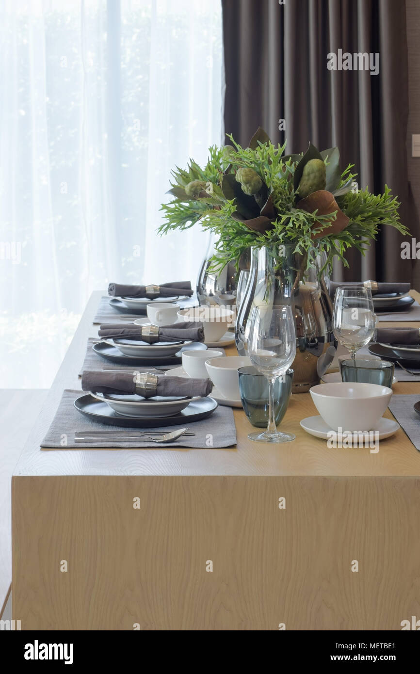 Modern Classic Style Dining Set In White And Gray Color Scheme On Wooden Table