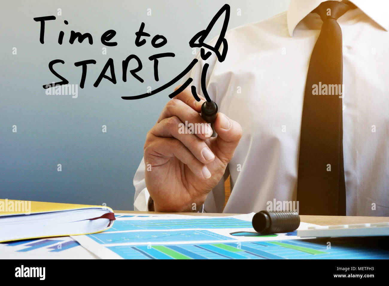 Time to start. Businessman at the table. New business or Start up concept. - Stock Image