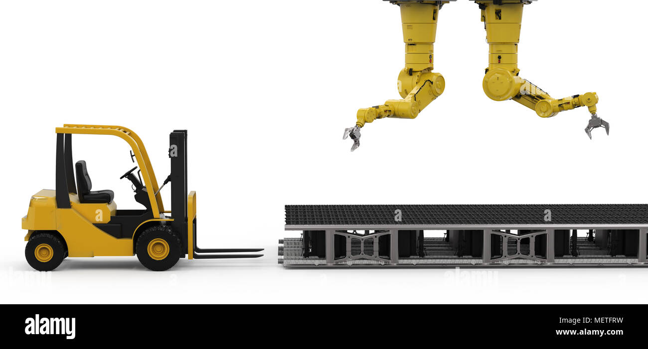 3d rendering robot arm with forklift truck and conveyor belt - Stock Image