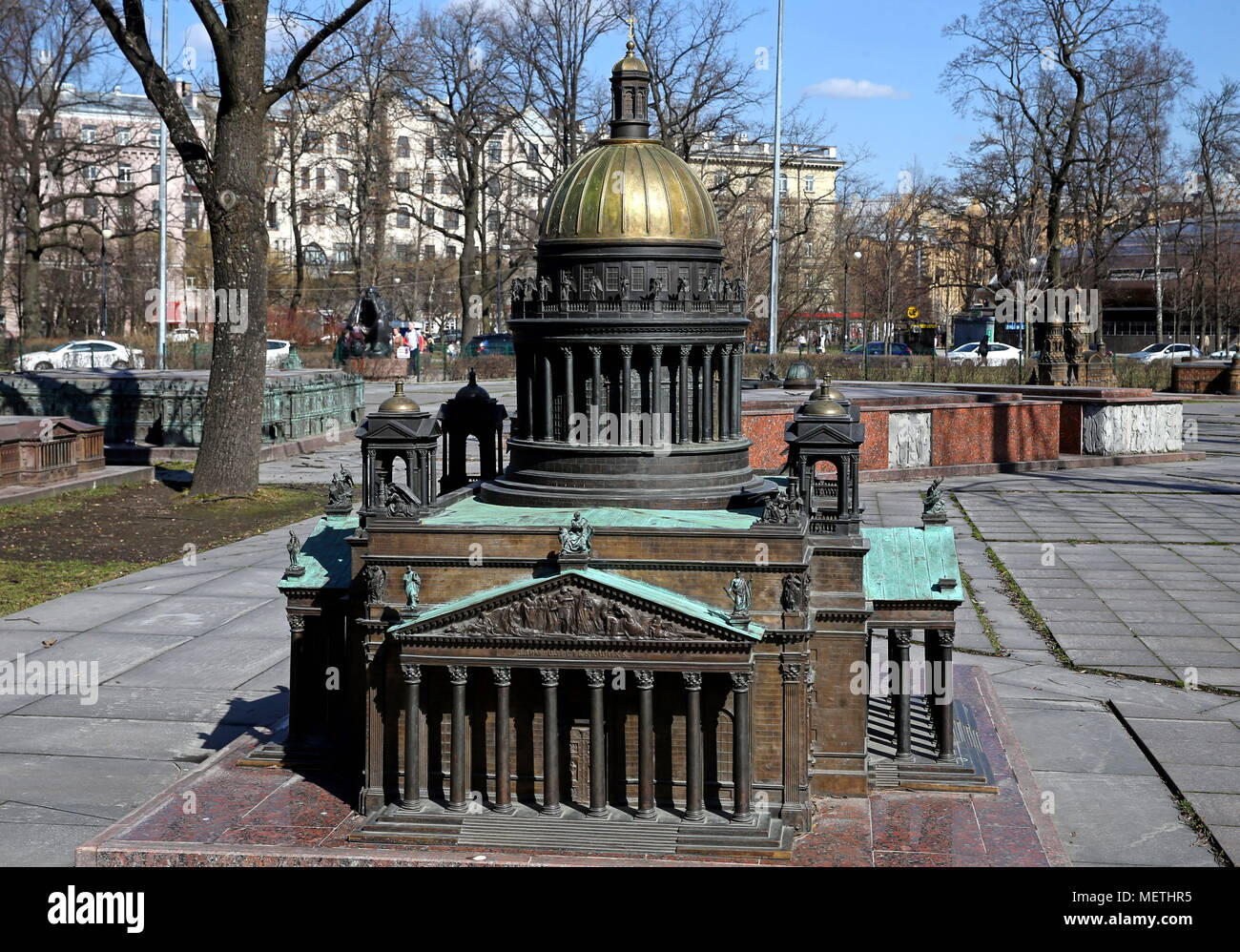 St Petersburg, Russia. 19th Apr, 2018. ST PETERSBURG, RUSSIA - APRIL 19, 2018: A scale model of St Isaac Cathedral at the Mini City center in Alexander Park. Alexander Demianchuk/TASS Credit: ITAR-TASS News Agency/Alamy Live News Stock Photo