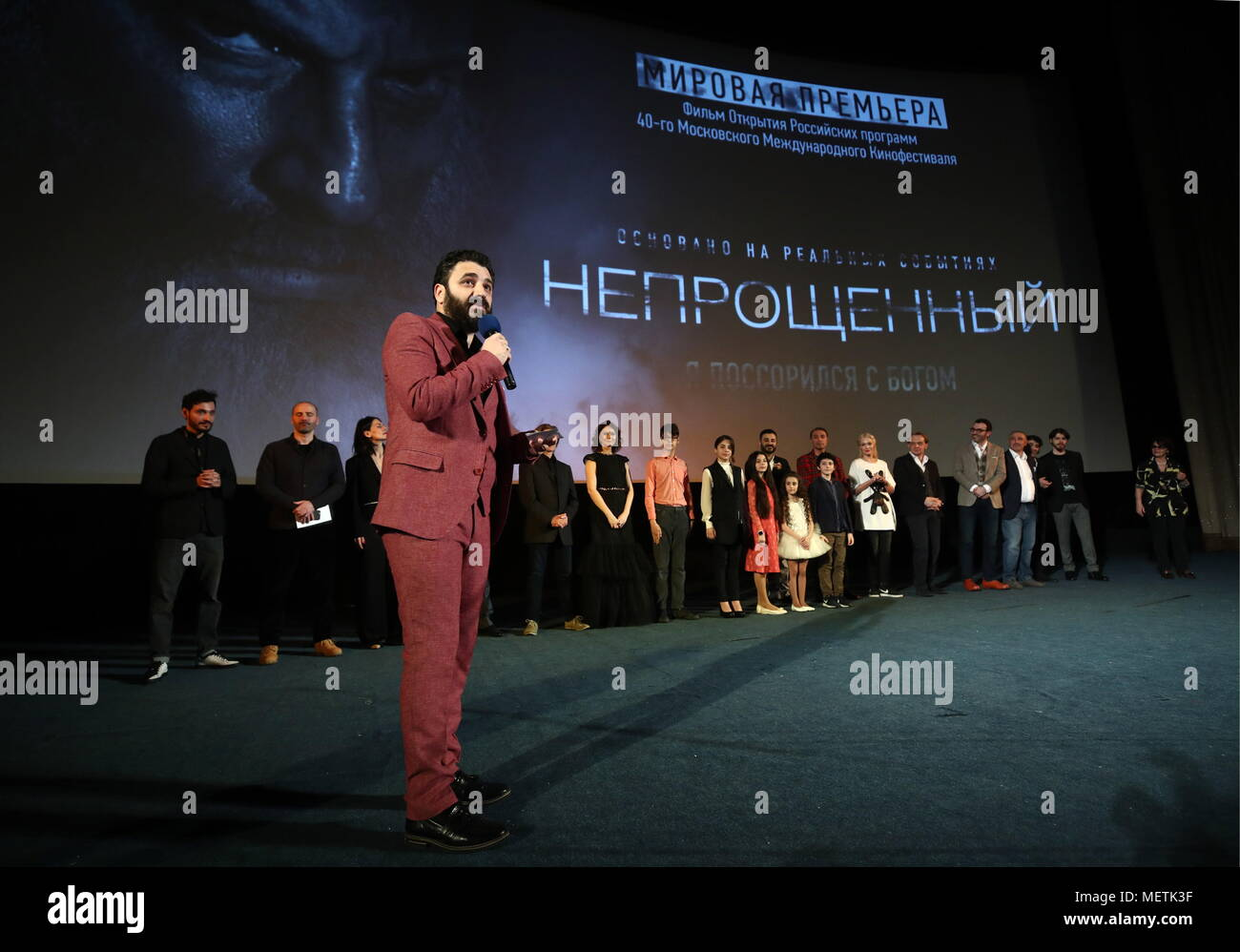 Moscow, Russia. 20th Apr, 2018. MOSCOW, RUSSIA - APRIL 20, 2018: Film director Sarik Andreasyan at a preview screening of his 2018 drama film Neproshchyonny (Unforgiven) at the House of Cinematographers at the 40th Moscow International Film Festival. Valery Sharifulin/TASS Credit: ITAR-TASS News Agency/Alamy Live News - Stock Image