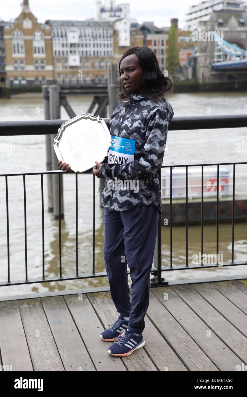 London,UK,23RD April 2018,London Marathon Elite winners photocall took place by Tower Bridge with Mary Keitany (KEN).Credit Keith Larby/Alamy Live News Stock Photo