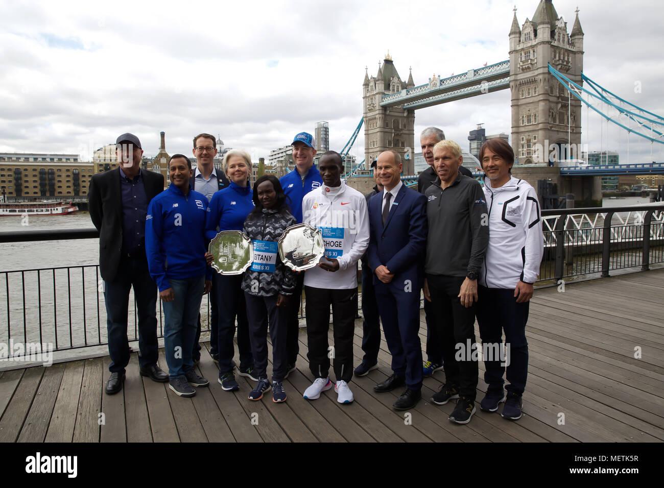 London,UK,23rd April 2018,Abbott World Marathon Majors photocall by Tower Bridge.Credit Keith Larby/Alamy Live News - Stock Image