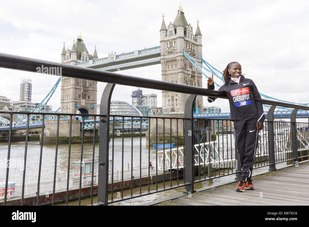 London, 23rd April 2018. The elite women's race winner, Vivian Cheruiyot  (Kenya, 02:18:31)poses at the Virgin London Marathon 2018 champions photocall.  Cheruiyot is a track and cross-country running specialist who made her London Marathon debut in 2017 Credit: Imageplotter News and Sports/Alamy Live News Stock Photo