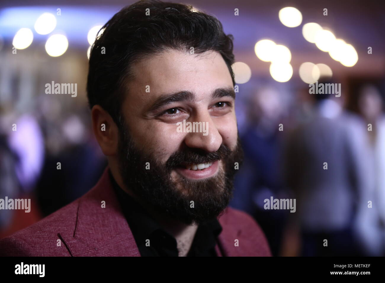 Moscow, Russia. 20th Apr, 2018. MOSCOW, RUSSIA - APRIL 20, 2018: Film director Sarik Andreasyan at a preview screening of his 2018 drama film Neproshchyonny (Unforgiven) at the Central House of Cinematographers at the 40th Moscow International Film Festival. Valery Sharifulin/TASS Credit: ITAR-TASS News Agency/Alamy Live News - Stock Image