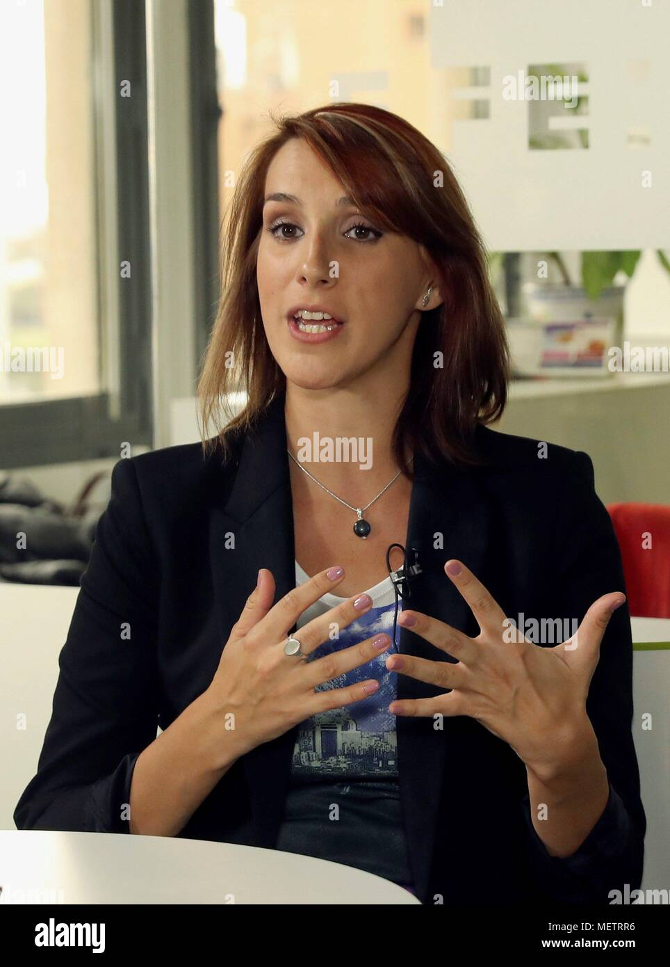 Madrid, Spain  23rd Apr, 2018  Spanish journalist Alicia Hernandez