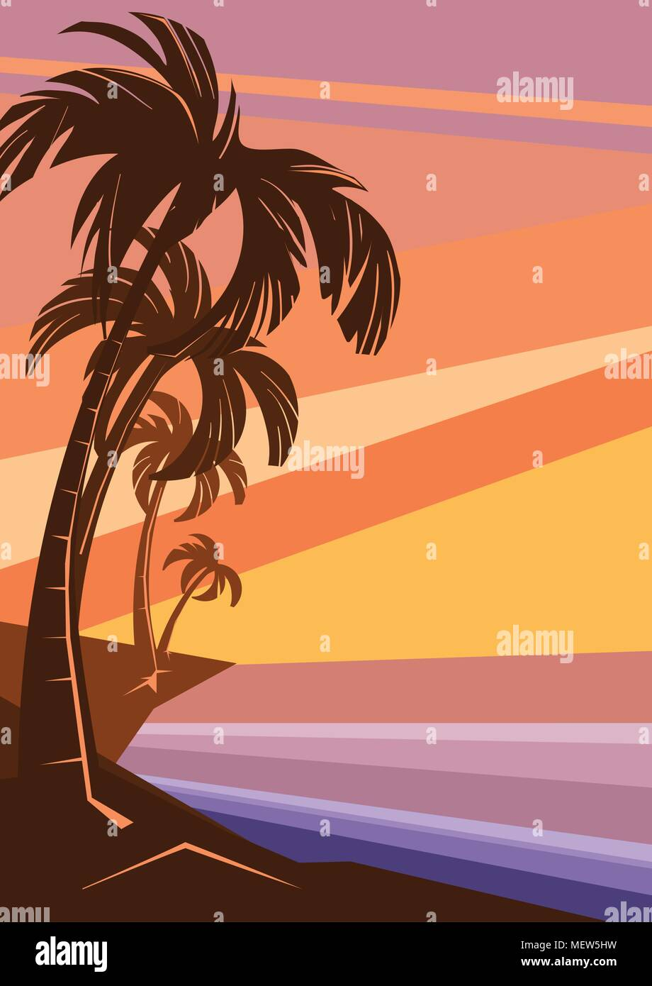 fantasy tropic ocean cost sunset with palm - Stock Vector
