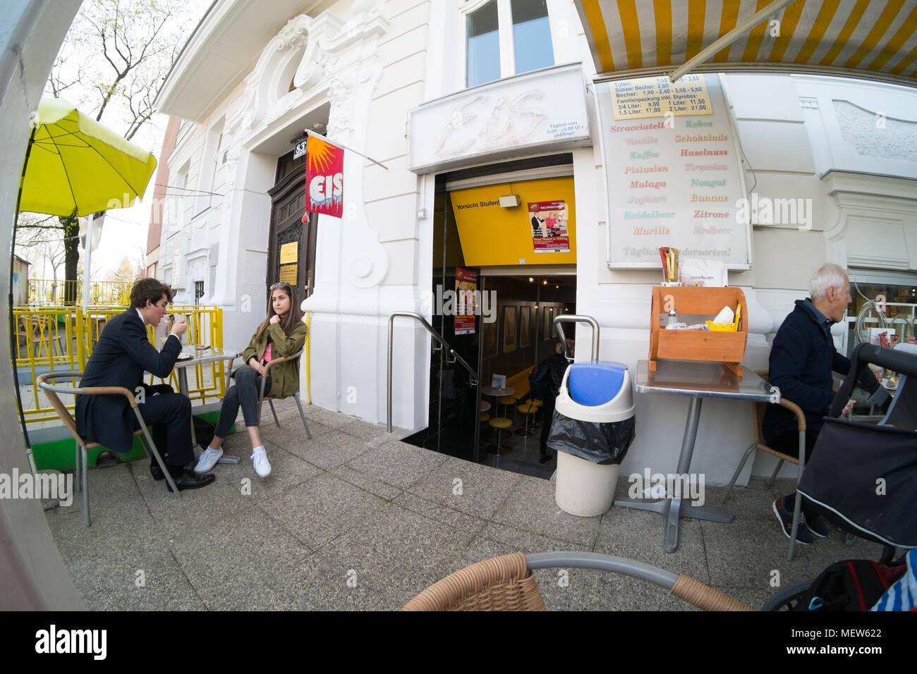 Ice cream parlour ,Eissalon Ruckenbauer, Billrothstraße, Vienna, Austria Stock Photo
