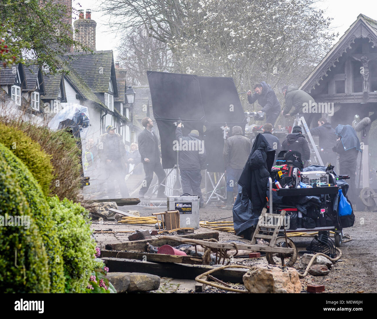 Great Budworth, UK. 11th April, 2018. Actor Rafe Spall acting a scene on set in the new BBC drama 'War Of The Worlds' by HG Wells, - Stock Image