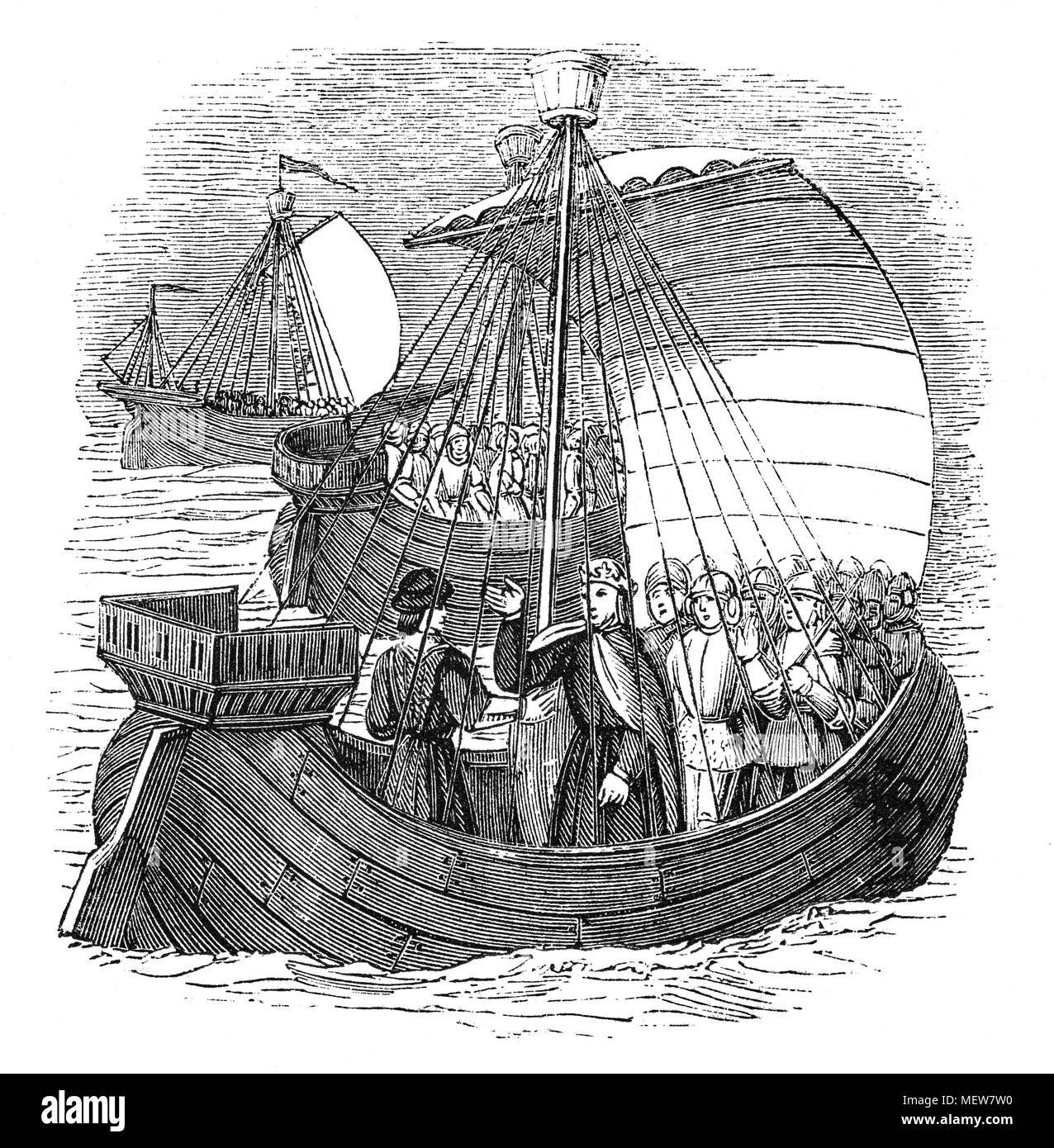 15th Century Medieval English ships of warwere powered by sail or oar, or both. Frequent communications withEurope meant exposure to a variety of improvements. Ships in the north were influenced by Viking vessels, while those in the south by classical or Roman vessels. However, there was technological change as traditional construction methods were changed from clinker to carvel construction, which would dominate the building of large ships. The period would also see a shift from the steering oar or side rudder to the stern rudder and the development from single to multi-masted ships. - Stock Image