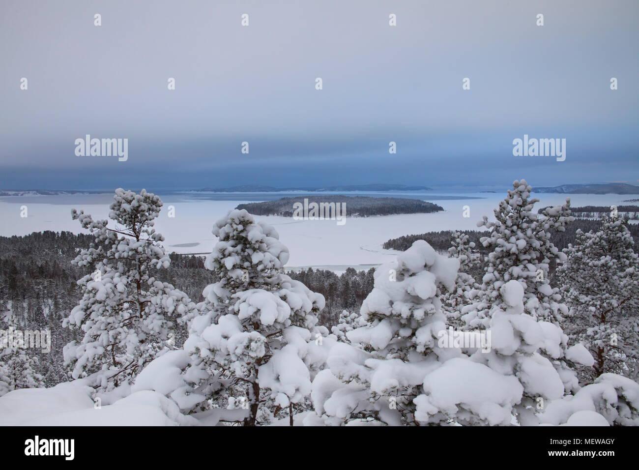 View from Ögeltjärnsberget over the Baltic Sea. Höga Kusten near Örnsköldsvik, Sweden. Stock Photo