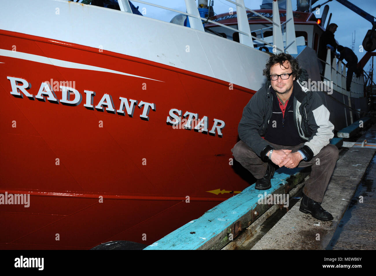 Hugh Fearnley Whittingstall on the Radiant Star fishing boat in Scalloway Shetland - Stock Image