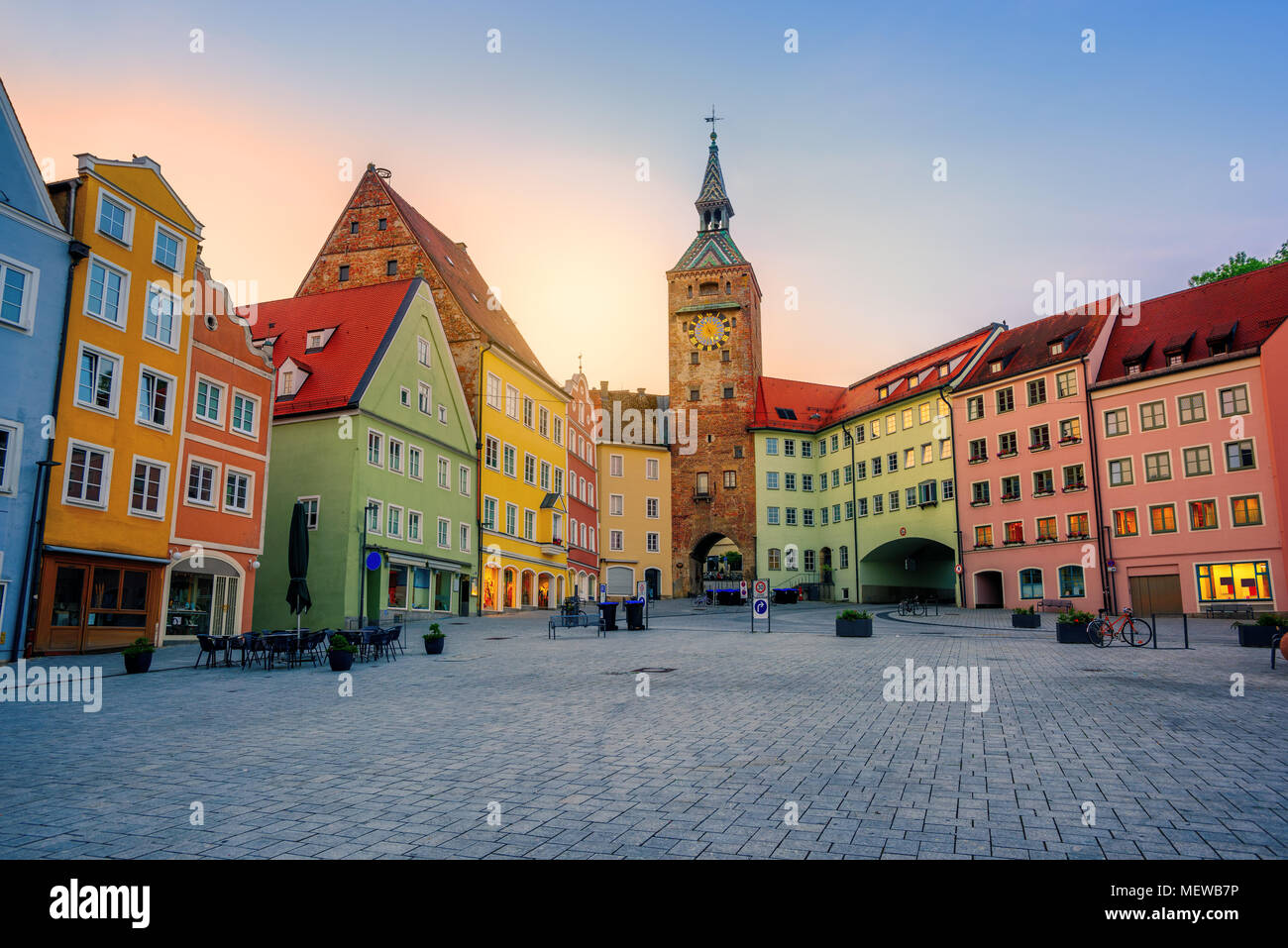 Traditional colorful houses in Landsberg am Lech historical gothic Old Town, Bavaria, Germany, in sunset light Stock Photo