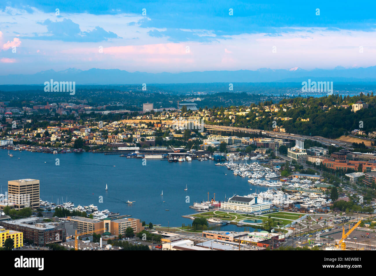 South sore of Lake Union in Seattle, Washington State, USA - Stock Image