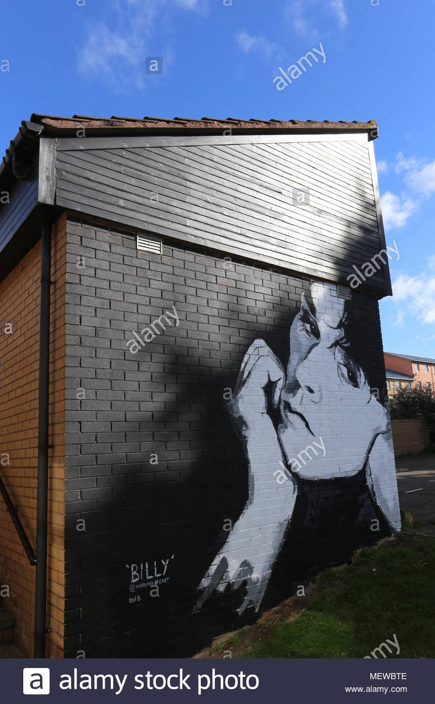 Portrait of Billy Mackenzie by Garry Milne Art part of OpenClose Dundee at Boomerang Centre Stobswell Dundee Scotland  April 2018 - Stock Image