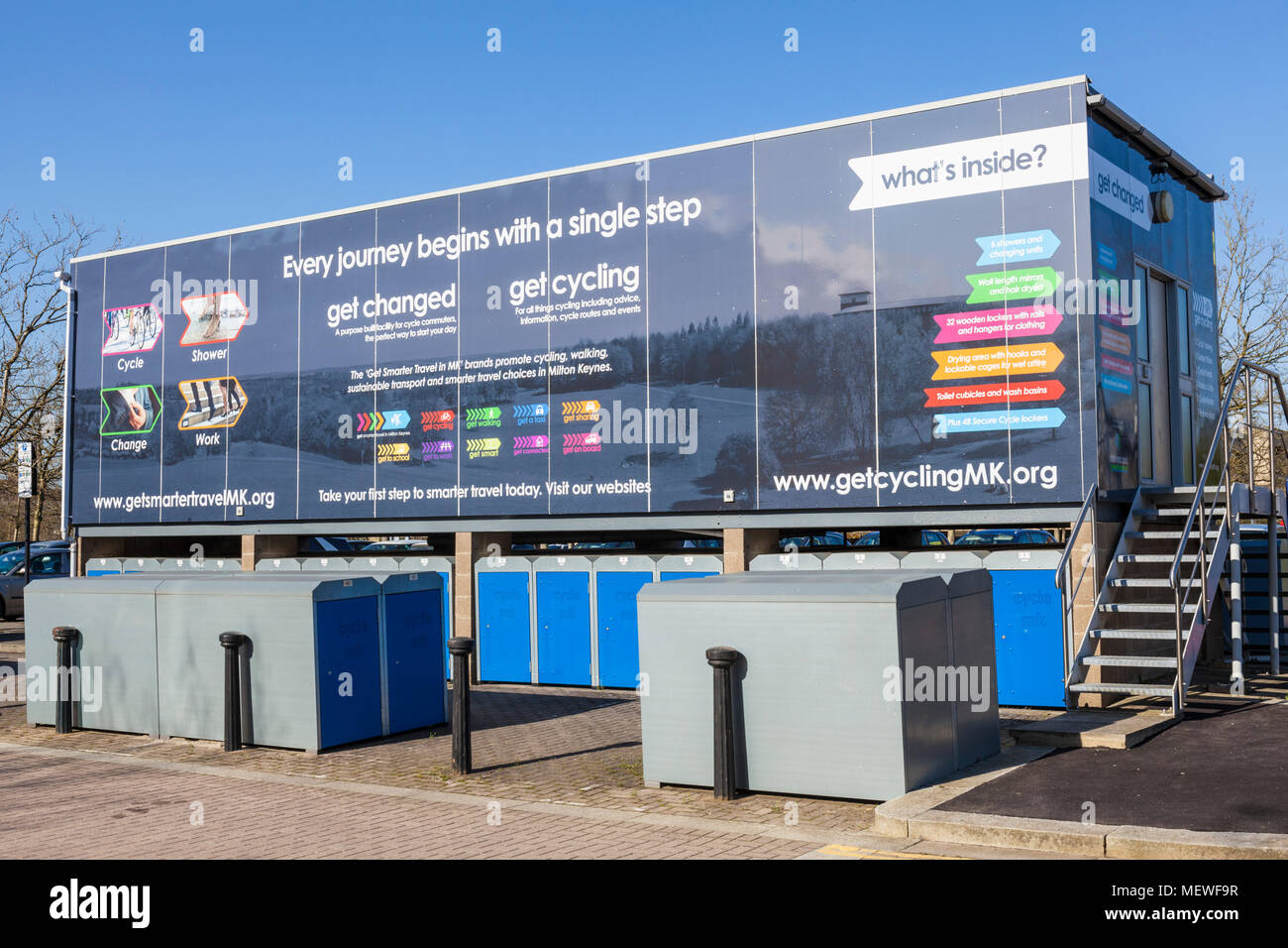 Milton Keynes England showers and changing facilities for commuting cyclists in central milton keynes buckinghamshire england gb uk europe - Stock Image