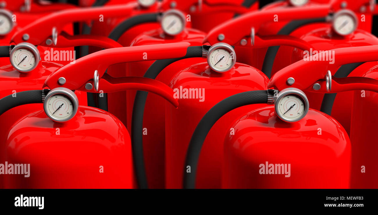 Fire safety. Group of red fire extinguishers, closeup view. blur background. 3d illustration - Stock Image