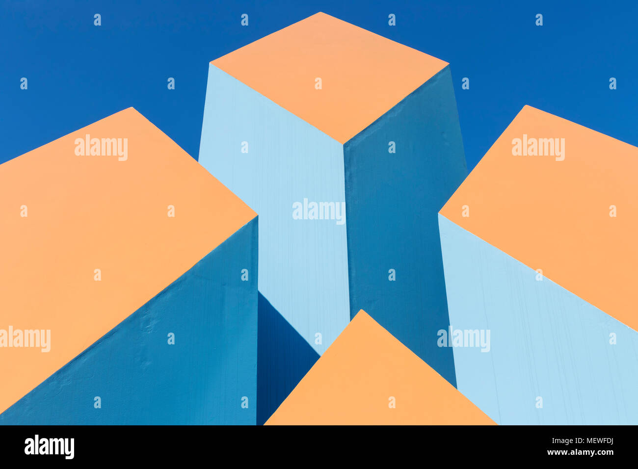 graphic design modern art sculpture blocks of colour color outdoor art sculpture gb uk - Stock Image