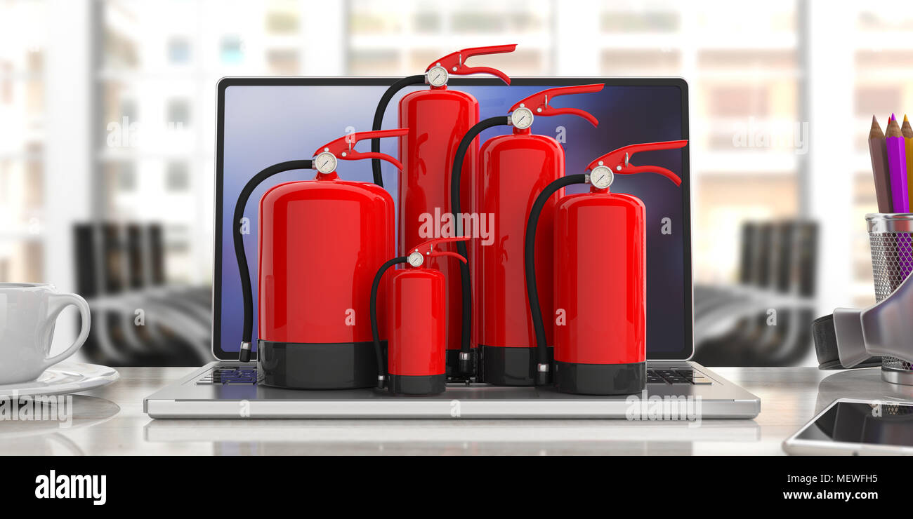Fire safety, Red fire extinguishers, various sizes, on computer, blur office background. 3d illustration - Stock Image