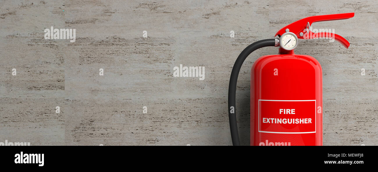 Red Fire Granite : Fire safety red extinguisher isolated stone wall