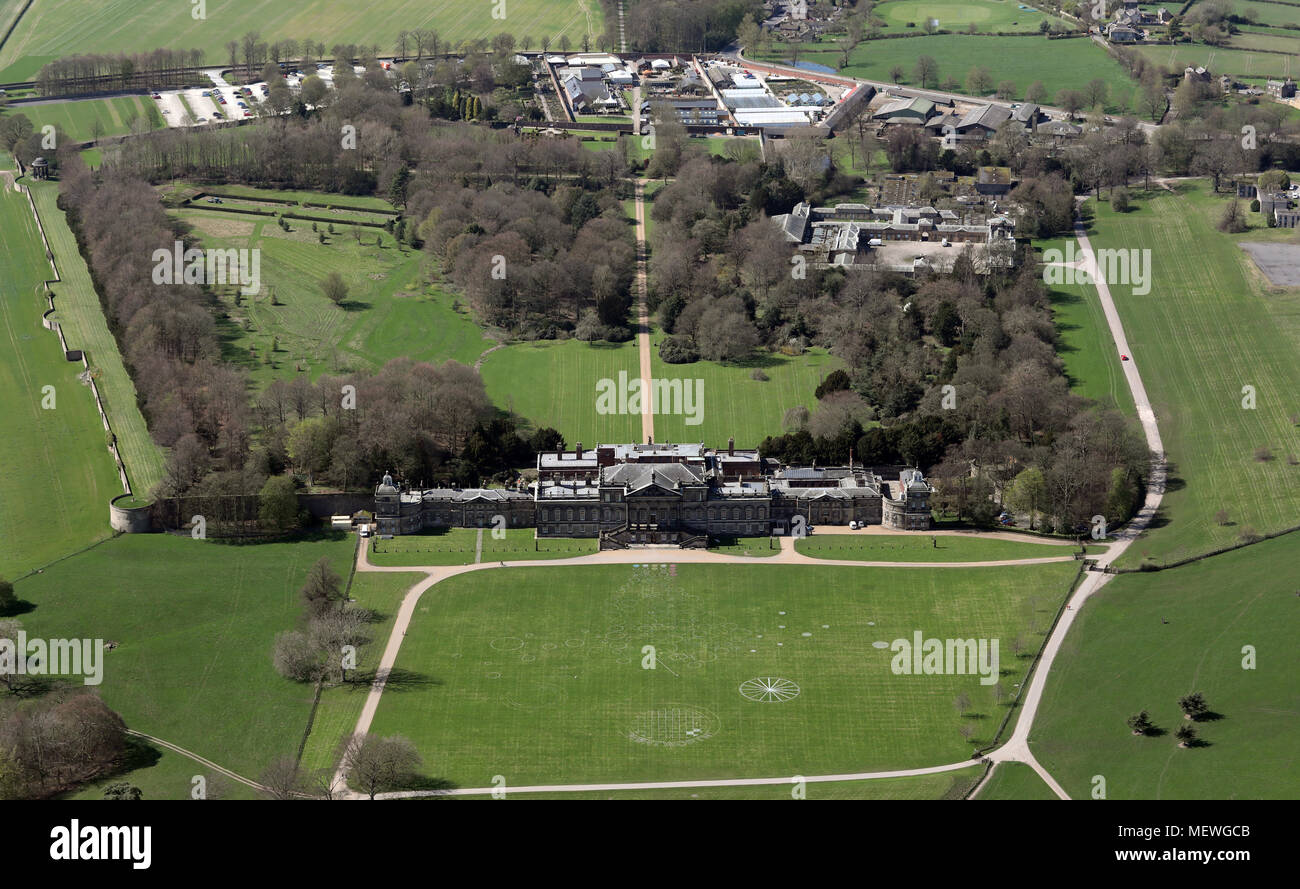 aerial view of Wentworth Woodhouse Country House near Rotherham, South Yorkshire Stock Photo