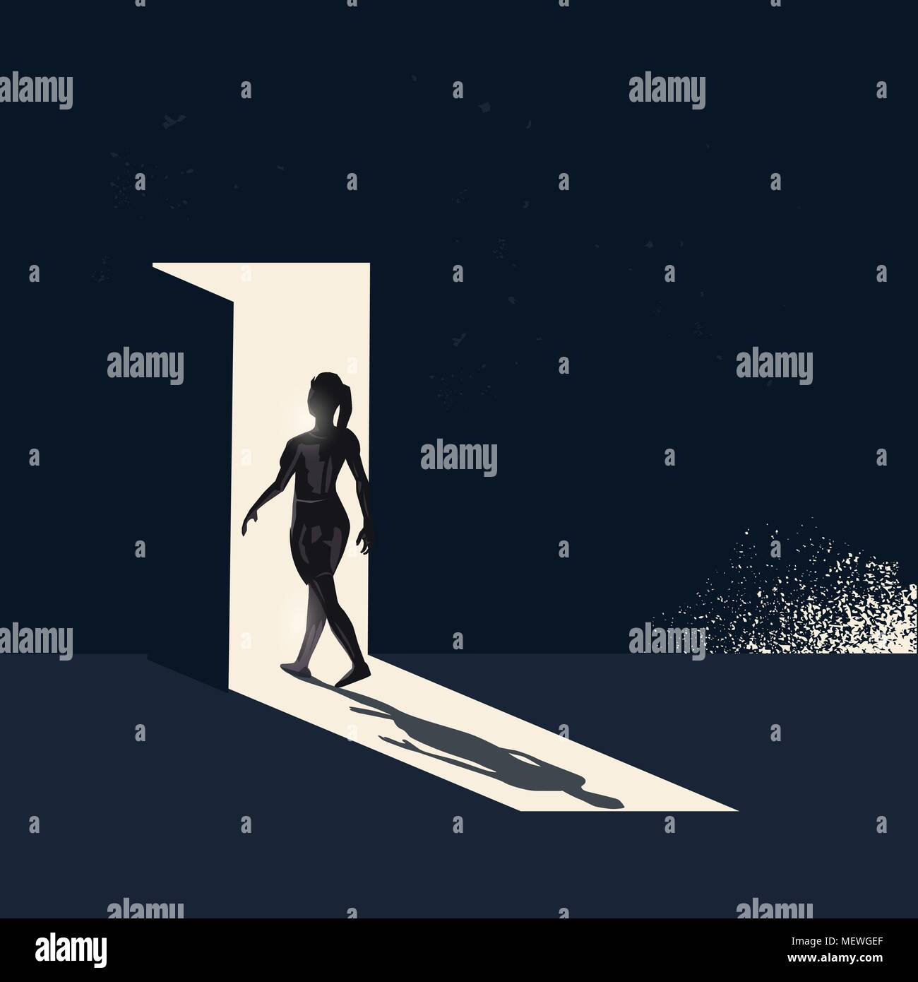 A women walking through a open door representing choices and new pathways. Conceptual business vector illustration Stock Vector