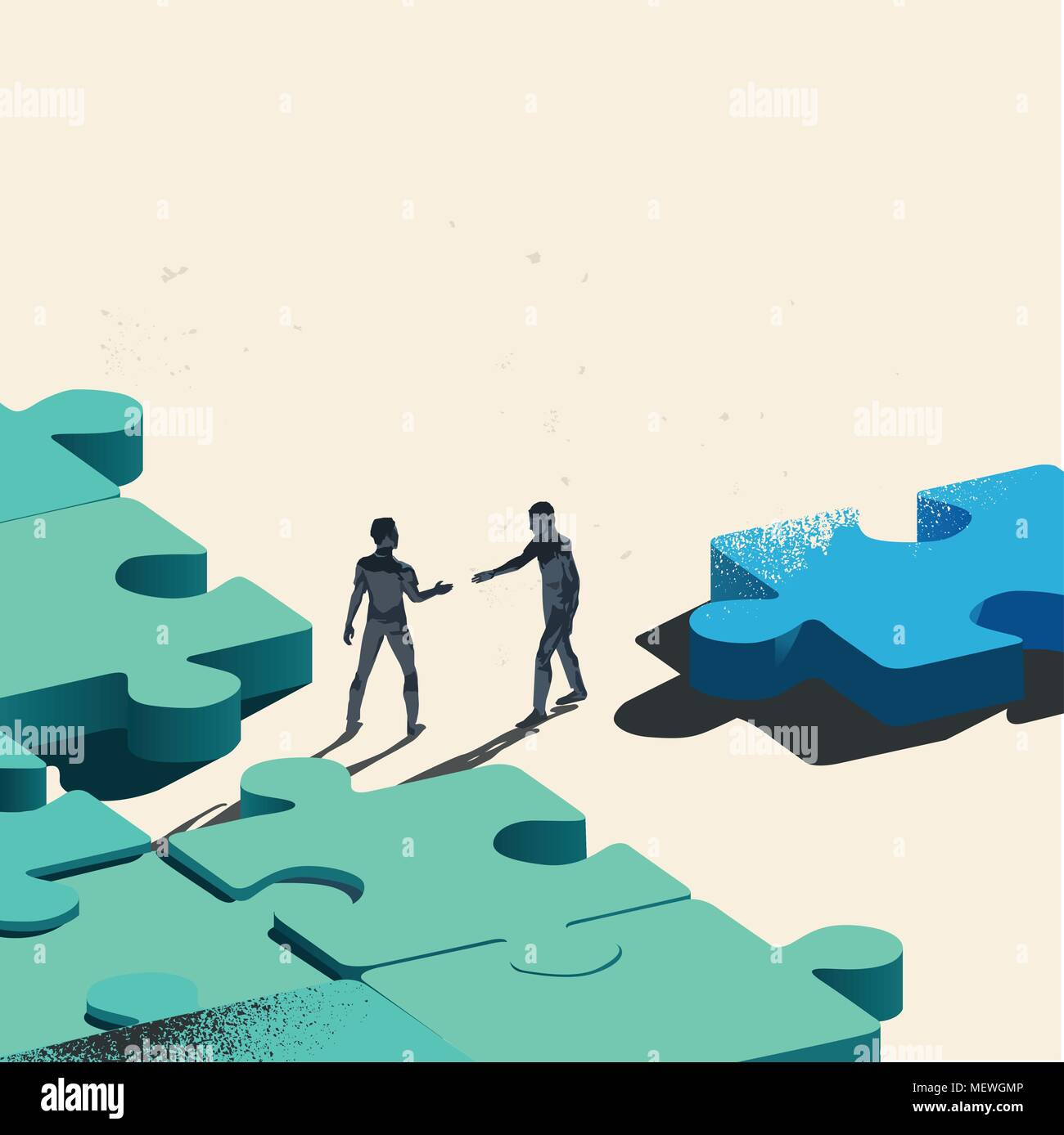 Final Piece Of The Puzzle. Two Businessmen about to shake hands over trading a jigsaw puzzle piece needed for the solution. Conceptual vector - Stock Vector