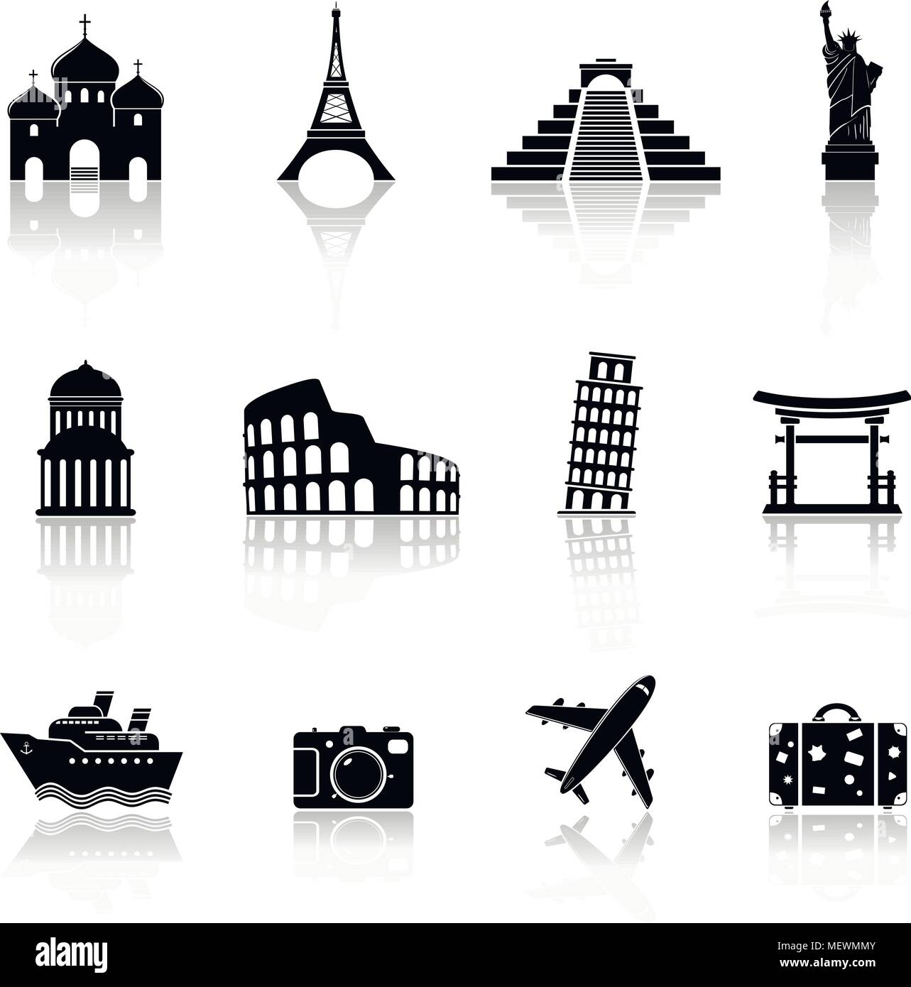 Travel and landmarks icons with reflection. Vector illustration. - Stock Image