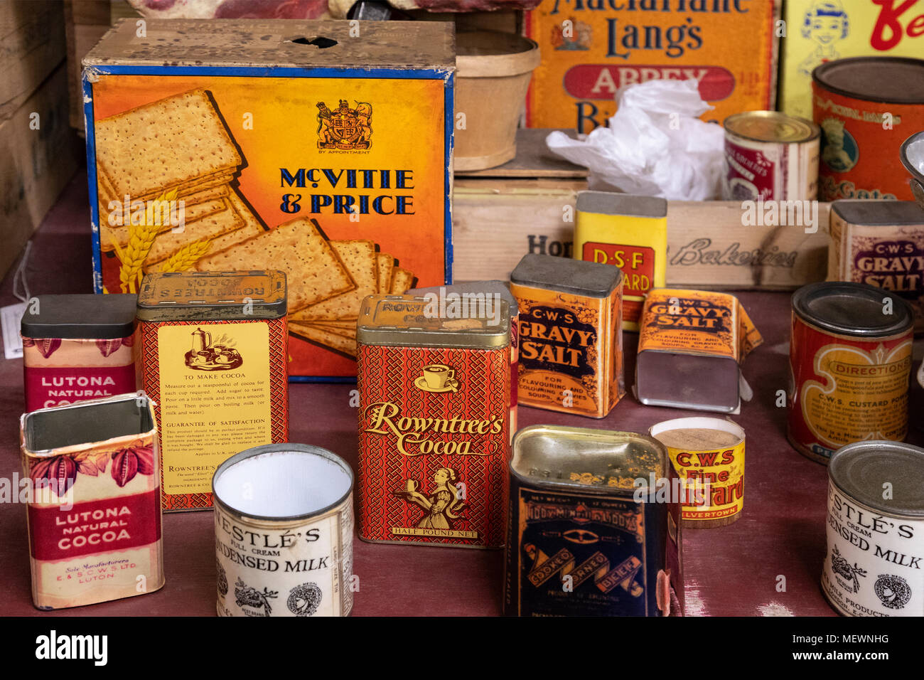 Old food packaging from around the 1950's - Stock Image