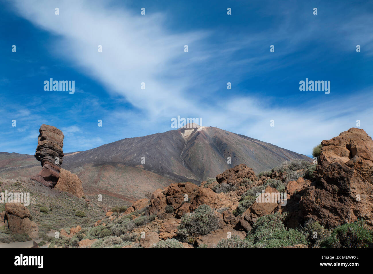Majestic view towards Teide, the highest volcanic peak in Spain, Tenerife, Canary Islands, Spain - Stock Image