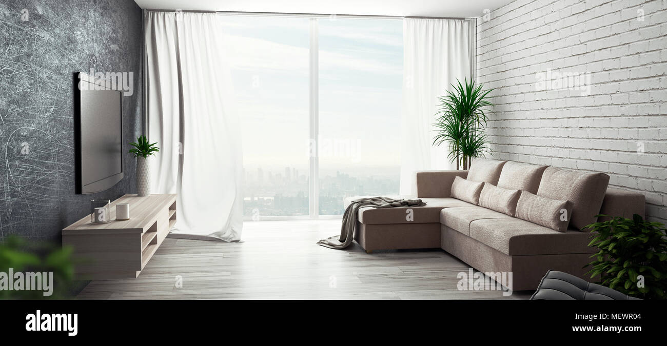 living room with sofa and big windows 3d render illustration image