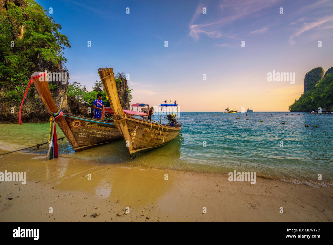 Thai longtail boats parked at the Koh Hong island in Thailand - Stock Image