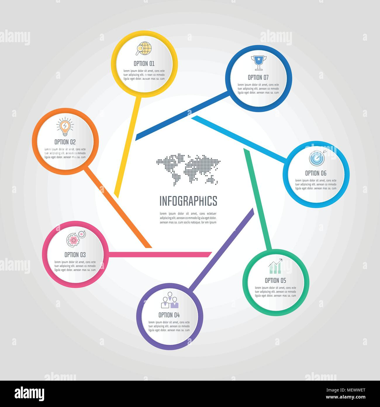 creative concept for infographic with 7 options, parts or processes