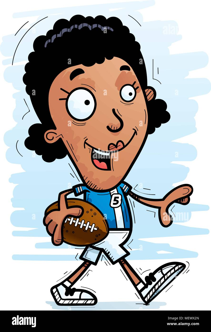 A Cartoon Illustration Of A Black Woman Football Player