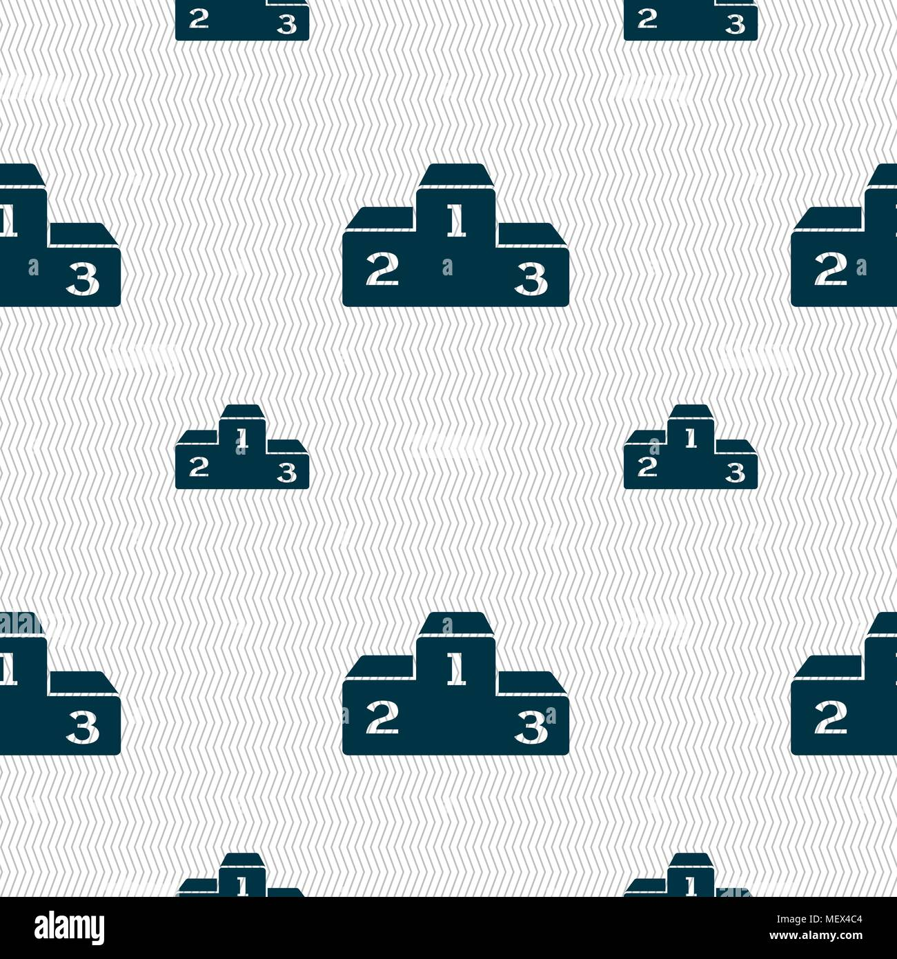 Podium icon sign. Seamless pattern with geometric texture. Vector illustration - Stock Vector