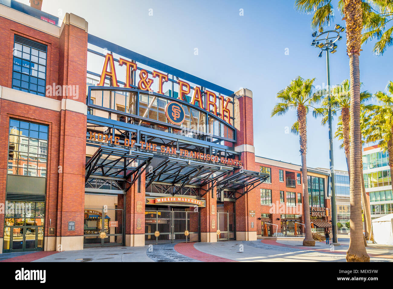 Panorama view of historic AT&T Park baseball park, home of the San Francisco Giants professional baseball franchise, on a sunny day in summer - Stock Image